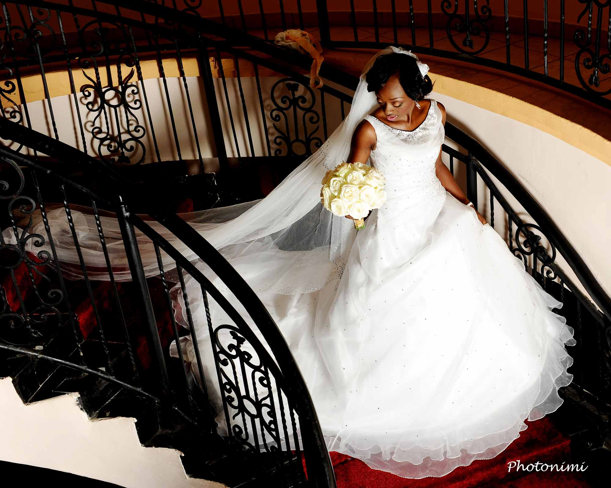 Beautiful Bride Walking Down The Stairs