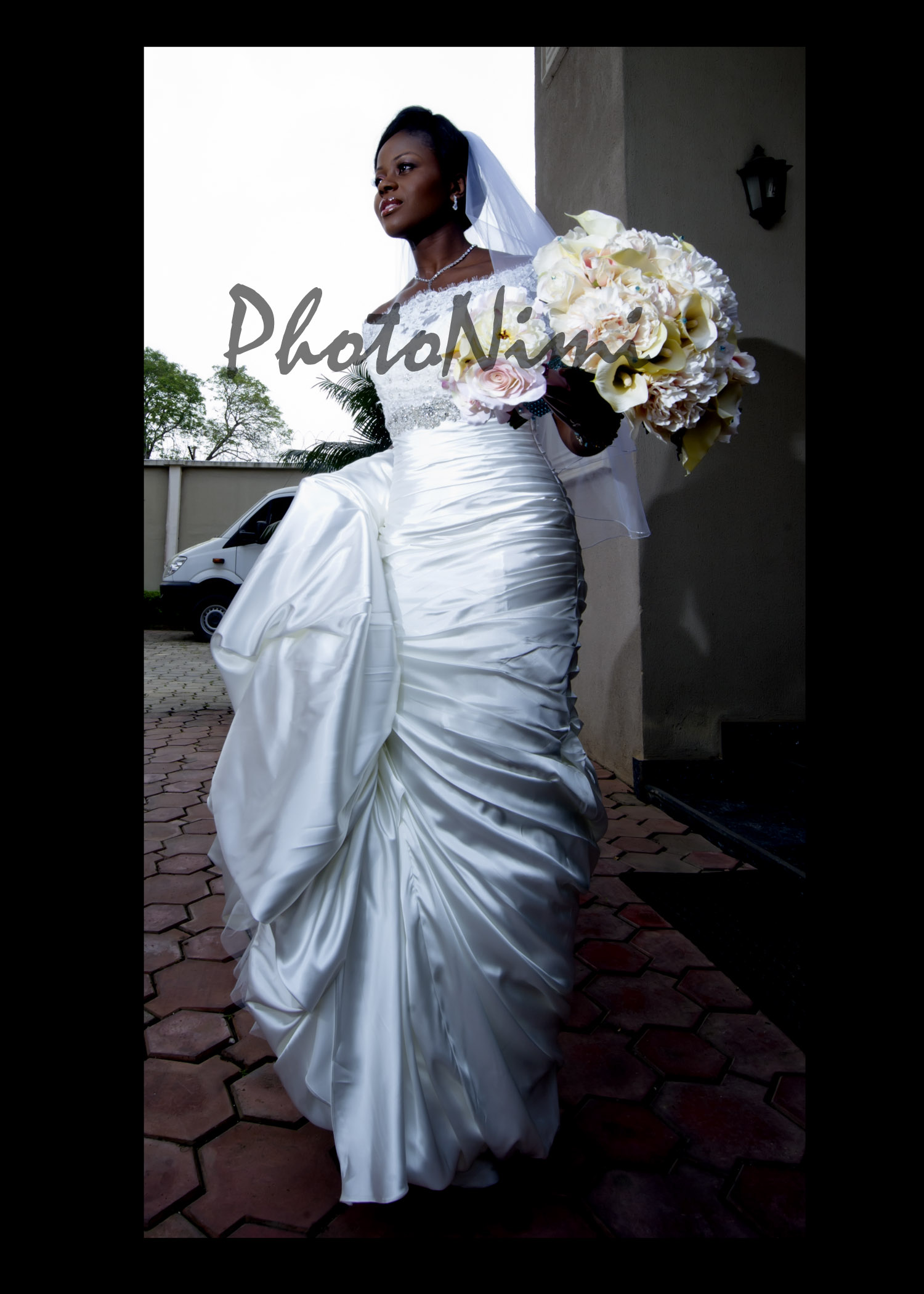 lovely bride with flowers