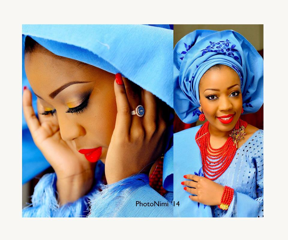 yoruba bride in blue traditional attire, photonimi